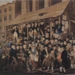 Fig. 08. Robert Dighton, «An Election Scene in Covent Garden, 1796», incisione colorata di M. B. Bate, 1800 ca. (British Museum, London)