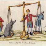 Fig. 21. «Balance Eligible du Marc d'Argent», 1791, acquaforte colorata (Bibliothèque nationale de France, Paris, Département Estampes et photographie, Collection De Vinck)