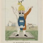 Fig. 24. «Élections de 1819. Le Ministériel Blousé», 1819, acquaforte colorata di H. Main (Bibliothèque nationale de France, Paris, Département Estampes et photographie, Collection De Vinck)