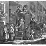 Fig. 26. William Hogarth, «The Country Inn Yard at the Election Time», 1747, acquaforte (British Museum, London)