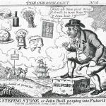 Fig. 35. John Lewis Marks, «The Steping Stone or John Bull peeping into Futurity!!!», 1832, acquaforte (British Museum, London)