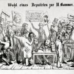 Fig. 43. «Wahl eines Deputirten zur II. Kammer», Köln, 1849-1855 ca., stampa anonima (Lexikon der Revolutions-Iconographie, Historisches Institut, Justus-Liebig-Universität Gießen)