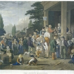 Fig. 04. John Sartain, «The County Election», 1854, incisione a mezzatinta colorata a mano (da George Caleb Bingham, «The County Election», 1852, olio su tela; Hood Museum of Art, Hanover, New Hampshire)