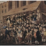 Fig. 08. Robert Dighton, «An Election Scene in Covent Garden, 1796», incisione colorata di M. B. Bate, 1800 ca. (British Museum, London)