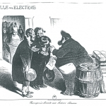 Fig. 25. Honoré Daumier, «Récompense honnête aux électeurs obéissans», in «La Caricature», 17 juillet 1834.