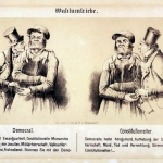 Fig. 33. Henry Ritter, «Wahlumtriebe», Arnz & Co, Düsseldorf, 1848, litografia a gesso (Lexikon der Revolutions-Iconographie, Historisches Institut, Justus-Liebig-Universität Gießen)