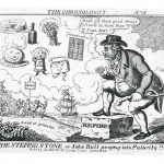 Fig. 35. John Lewis Marks, «The Steping Stone or John Bull peeping into Futurity!!!», 1832, acquaforte (British Museum, London)