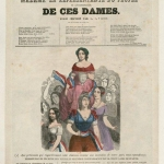 Fig. 38, Léon Guillemain (pseudonimo di Léon Guillemin), «Élections de 1849. Madame la Représentante du Peuple ou l'émancipation de ces dames», Lacour, Paris 1849, incisione su legno colorata (Bibliothèque nationale de France, Paris, Département Estampes et photographie, Collection De Vinck)