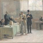 Fig. 51, Alfred-Henri Bramtot, «Le Suffrage Universel, esquisse pour la Mairie des Lilas», 1888, olio su tela (Musée des Beaux-Arts de la Ville de Paris, Petit-Palais)
