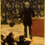 Fig. 55, Jean-François Raffaëlli, «Georges Clemenceau prononçant un discours au cirque Ferrando», 1883, olio su tela (Musée National du Château de Versailles)