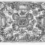 """Fig. 03 – Giuseppe Menabuoni, «Valore militare in terra», incisione in rame di Francesco Zucchi; in """"Azioni gloriose degli uomini illustri fiorentini espresse co' loro ritratti nelle volte della real Galleria di Toscana"""", Firenze 1745, tavola XXXV."""
