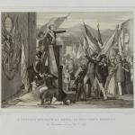 Fig. 26 – Nicola Sanesi, «I Toscani onorano la tomba di Francesco Ferrucci a Cavinana il 10 ottobre 1847», incisione all'acquaforte di Giuseppe Migliavacca, 1847(?) (Civica Raccolta delle Stampe Achille Bertarelli, Milano).