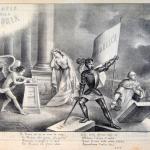 Fig. 27 – Pietro E. De Filippi, «Su, Toscani, chi ha un arme la cinga [...]», litografia; in: «L'inferno», Livorno, 8 marzo 1849.