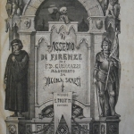 """Fig. 21 – """"L'assedio di Firenze di F. D. Guerrazzi illustrato da Niccola Sanesi"""", Politti, Milano 1869 ca., frontespizio (Biblioteca Universitaria, Pisa)."""