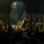 Fig. 22 – Eugenio Agneni, «Rêve d'un exilé o Le ombre dei grandi uomini fiorentini che protestano contro il dominio straniero», olio su tela, 103 x 73 cm, 1857 (GAM, Torino).