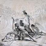 Fig. 23 – Francesco Ratti (da Federico Peschiera), «Apoteosi di F. Ferrucci. Quadro di Federico Peschiera», incisione su legno; in: «Il mondo illustrato», Torino, 19 settembre 1846.