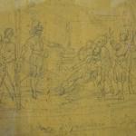 Fig. 30 – Massimo d'Azeglio, «Morte di Ferruccio», disegno a matita su legno, imposta di finestra proveniente dalla Locanda della Posta di San Marcello Pistoiese, 1840 (Museo Ferrucciano, Gavinana).