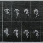 """Fig. 12 – «Mouvements de l'ombrélle de la Méduse. La première image est à gauche de la ligne supérieure; la dernière à droite de la ligne inférieure» (tratto da: Étienne-Jules Marey, """"La locomotion dans l'eau. Étudiée par la photochronographie"""", in «La Nature», 29 settembre 1883, p. 376)"""