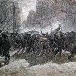 Fig. 6 – Carlo Carrà, «I funerali dell'anarchico Galli», bozzetto, 1910, pastello su cartoncino, 57 x 78 cm (Collezione privata)