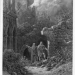 """Fig. 04 – Gustave Doré, «Yniol accompagna Geraint alle rovine del castello», incisione su acciaio, in Alfred Tennyson, """"Idylls of the King. Enid"""", Moxon and Co, London 1868, in-folio, tavola I."""