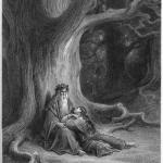 """Fig. 06 – Gustave Doré, «Vivien getta un sortilegio su Merlin», incisione su acciaio, in Alfred Tennyson, """"Idylls of the King. Vivien"""", Moxon and Co, London 1868, in-folio, tavola XVIII."""