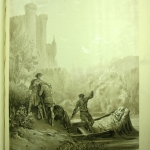 """Fig. 03 – Gustave Doré, «La barca funeraria di Elaine», eliografia dal disegno originale per la tavola XXV degli """"Idylls of the King"""", in """"The Story of Elaine illustraed in facsimile from the drawings of Gustave Doré, The text adapted from Sir Thomas Mallory"""", Moxon son and Co, London 1871, in-folio (Victoria and Albert Museum, London)."""