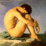 Fig. 12. Hippolyte Flandrin, «Jeune homme nu assis au bord de la mer», olio su tela, 1855 (Musée du Louvre, Paris)