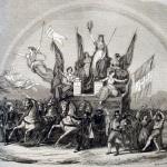 Fig. 3 – Chiappori (da Francesco Gonin), «Sipario del Teatro Nazionale di Torino», in «Il Mondo Illustrato», 10 giugno 1848, incisione su legno di Ratti e Charlot.