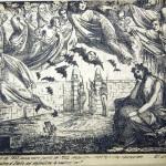 Fig. 13 – «Il giorno dei morti del 1855 passa come quello del 1854 senza una vendetta e una riparazione… Gli alleati aiutano il custode del sepolcro d'Italia ad impedirne la risurrezione!», in «La Maga», 1 novembre 1855, litografia in penna.
