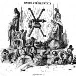 Fig. 18 – M. [Pasquale Mattei], «Camera de' deputati. Aspettiamo!», in «L'Arlecchino», 27 maggio 1848, litografia in penna.