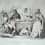 """Fig. 14 – Antonio Masutti, «Un congresso a Bruxelles», in Michelangelo Pinto, """"Don Pirlone a Roma. Memorie di un italiano dal 1 settembre 1848 al 31 dicembre 1850"""", Torino 1853, incisione."""