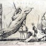 Fig. 17 – Antonio Masutti, «Baldassarre ebbe a Daniele a spiegargli la visione…e a donar chi gli farà il favore», in «Il Don Pirlone», 7 febbraio 1849, litografia in penna.