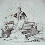 """Fig. 23 – Antonio Masutti, «Un paradosso cattolico», in Michelangelo Pinto, """"Don Pirlone a Roma. Memorie di un italiano dal 1 settembre 1848 al 31 dicembre 1850"""", Torino 1853, incisione."""