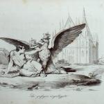 """Fig. 34 – Antonio Masutti, «La grifagna ringalluzzita», in Michelangelo Pinto, """"Memorie di un italiano dal 1 settembre 1848 al 31 dicembre 1850"""", Torino 1853, incisione."""