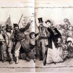 Fig. 35 – Guido Gonin, «La Speranza d'Italia», in «Lo Spirito Folletto», 26 giugno 1862, litografia su due pagine.