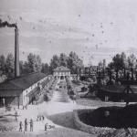 Fig. 12. «Veduta della fabbrica del Gaz a Porta Ludovica, a Milano», 1870, incisione (Civica Raccolta delle Stampe Achille Bertarelli. Milano)