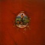 Fig. 19. Bandiera della Federazione operai metallurgici di Luino, 1911, ricamo, tempera e olio su tessuto (Camera del Lavoro di Varese-Busto Arsizio)