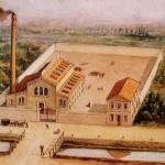 Fig. 11. «Veduta del primo stabilimento Pirelli 'sul Sevesetto', ora via Fabio Filzi, a Milano», 1872, stampa a colori (Archivio storico Pirelli, Milano)