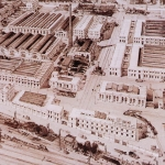 Fig. 14. Mario Stroppa, «Veduta del nuovo stabilimento Pirelli alla Bicocca, a Milano», 1910, carboncino (Collezione privata, Milano)