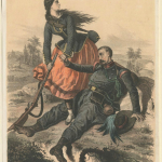 Fig. 04 «Bersaglieri Creali auf Vorposten Fallend, und seine Tochter», 1859, litografia a colori (Anne S. K. Brown Military Collection, Brown University Library, Providence).
