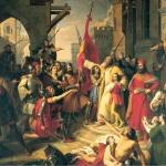 Fig. 15. Francesco Podesti, «Il giuramento degli Anconitani», 1844-48, olio su tela (Sala consiliare, Civica Residenza, Ancona)
