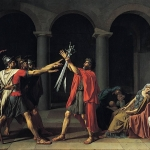 Fig. 17. Jacques-Louis David, «Le Serment des Horaces», olio su tela, 1784 (Musée du Louvre, Paris)