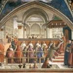 Fig. 01 – Domenico Ghirlandaio, «Conferma della regola dell'Ordine di San Francesco», 1482-1485, affresco, Cappella Sassetti, Santa Trinita, Firenze