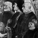 Fig. 02 – Domenico Ghirlandaio, «Conferma della regola dell'Ordine di San Francesco», 1482-1485, affresco, Cappella Sassetti, Santa Trinita, Firenze (particolare: Francesco Sassetti e Lorenzo il Magnifico)