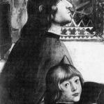 Fig. 03 – Domenico Ghirlandaio, «Conferma della regola dell'Ordine di San Francesco», 1482-1485, affresco, Cappella Sassetti, Santa Trinita, Firenze (particolare: Angelo Poliziano e Giuliano di Lorenzo de' Medici)