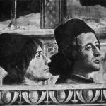 Fig. 04 – Domenico Ghirlandaio, «Conferma della regola dell'Ordine di San Francesco», 1482-1485, affresco, Cappella Sassetti, Santa Trinita, Firenze (particolare: Angelo Matteo Franco e Luigi Pulci)