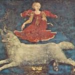 Fig. 07 – Francesco Cossa, «Ciclo dei Mesi. Marzo», 1468-1470 circa, affresco, Sala dei mesi, Palazzo Schifanoia, Ferrara (particolare: i decani di Marzo)